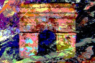 Leonard Te Nyenhuis; Arch De Triumph, 2011, Original Printmaking Giclee, 60 x 40 cm. Artwork description: 241   This is an over painted altered foto that has been enhanced on the computer. It is printed out painted over and reworked several times. I use all possibilities to create my images, what matters to me is the end result, the originals are usually 10 x 15  ...