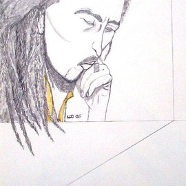 Leo Evans, , , Original Drawing Other, size_width{MR_BOB_MARLEY_4-1190970515.jpg} X 24 inches