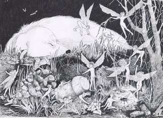 Annie Dachinger; DruidsDream, 2010, Original Drawing Pen, 21 x 29 inches. Artwork description: 241   Druid, a collie dog, sleeping after a busy party, draming of faeries    ...