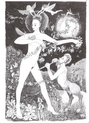 Annie Dachinger; Flora Dancing With Faun, 2010, Original Drawing Pen, 21 x 29.5 inches. Artwork description: 241  The goddess Flora dancing with garlands to the music of a faun ...