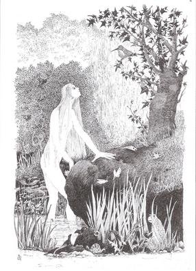 Annie Dachinger; Naiad, 2010, Original Drawing Pen, 21 x 29 inches. Artwork description: 241   The goddess Flora dancing with garlands to the music of a faun  ...