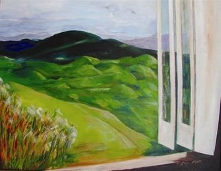 Patsy Mair; View From The Bunker, 2005, Original Painting Acrylic, 25 x 18 inches. Artwork description: 241 A mountain scene of the hills and valleys as seen from high above the city of Kingston Jamaica in the early afternoon, from a private and personal viewpoint. ...