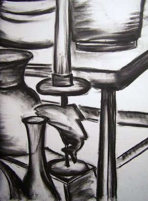 Laurie Hendricks; Captured, 2007, Original Drawing Charcoal, 18 x 22 inches.