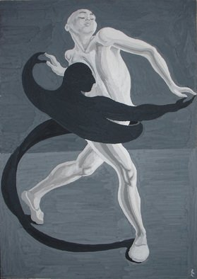 Lia Chechelashvili; Dancing With Shadow, 1993, Original Drawing Gouache, 60 x 86 cm. Artwork description: 241 gouache on cardboard...
