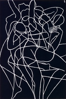 Lia Chechelashvili; Illusion, 1990, Original Drawing Gouache, 50 x 72 cm. Artwork description: 241  gouache on cardboard...