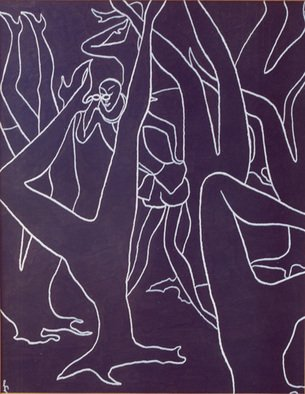 Lia Chechelashvili; Spy, 1993, Original Drawing Gouache, 57 x 72 cm. Artwork description: 241       gouache on cardboard       ...