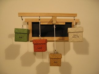 Gregory Liffick; Box Seats, 2005, Original Mixed Media, 16 x 12 inches. Artwork description: 241  Ink on wood and woven fiber and string. ...