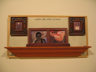Gregory Liffick; Suffer The Little Children, 2003, Original Assemblage, 24 x 12 inches. Artwork description: 241  Ink on wood, canvas, paper and glass.  ...