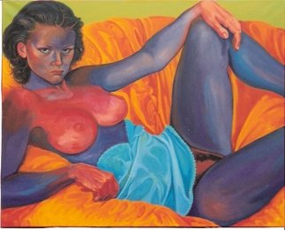 Luccia Lignan; Femme Cale Dans Un Fauteuil, 2006, Original Painting Acrylic, 81 x 65 cm. Artwork description: 241   (c)  2007 Rengell& LignanPrivate & Corporate CommissionsInquiries about private or corporate commissions for artwork can be made through the Artist e- mail contact. - The Artist is available for commissions for various types of work, including large and small scale sculptures, portrait sculptures, portrait paintings, and murals as ...