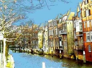 Liesbeth Joosten Alias Lijoo; Voorstraat Haven Dordrecht, 2005, Original Photography Other, 40 x 30 cm. Artwork description: 241 Digital painted photograph of the  Voorhaven in Dordrecht an old town in Holland/ Netherlands. With colour- floodfill and painting with the mouse the painting is created.Limited to 10 printings, each numbered and signed by Lijoo....