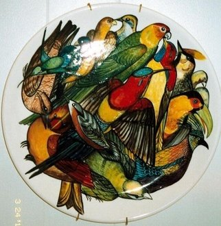 Liliana Neret; Parrots, 2009, Original Painting Oil,   inches. Artwork description: 241   My painting over my own ceramic creation  ...