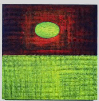 Lillian Abel; GreenOval, 2002, Original Painting Oil, 24 x 24 inches. Artwork description: 241 Oil on Birch - Untitled ( Green Oval)Photo: William Nettles...