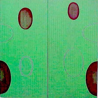 Lillian Abel; GreenStripes, 2002, Original Painting Oil, 16 x 16 inches. Artwork description: 241 Oil on Two Birch Panels - Untitled ( Green Stripes) Photo: William Nettles...