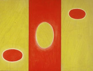 Lillian Abel; redwhiteyellow, 2002, Original Painting Oil, 16 x 24 inches. Artwork description: 241 Oil on Three BIrch Panels, Untitled ( Red, White, Yellow)Photo: William Nettles...
