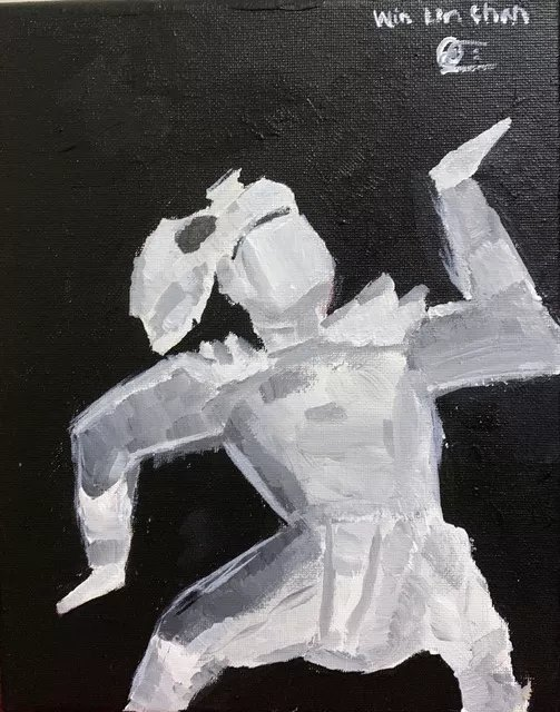 We Lin Chan; Burmese Male Dancer, 2019, Original Painting Acrylic, 8 x 10 inches. Artwork description: 241 A Burmese Male dancing in a traditional burmese dance style by Student Win Lin Chan...
