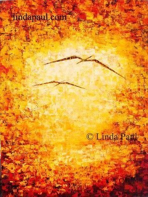 Linda Paul; Flight  Abstract Art Painting, 2014, Original Painting Acrylic, 30 x 40 inches. Artwork description: 241  Original Abstract Art Paintings of Sunset and two birds in flight in vibrant colors of yellow, orange, red and chocolate brown by artist Linda Paulprice 25900. 00Size 30 wide x 40 high x 1- 122 deepMedium acrylic paint on canvasArtist Linda Paulone of a ...