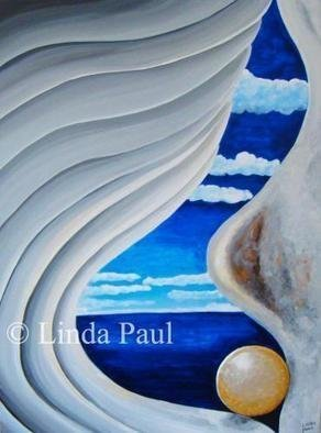 Linda Paul; Mother Of Pearl By Artist..., 2013, Original Painting Acrylic, 30 x 40 inches. Artwork description: 241  Contemporary abstract painting of an ocean view through the inside of a shell with gold pearl and blue sky ...