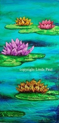 Linda Paul; Water Lilies Vibrant Cont..., 2012, Original Painting Acrylic, 12 x 24 inches. Artwork description: 241  Stunning, vibrant  new original Contemporary painting of water lilies by artist Linda Paul. This painting is so much more vibrant the the water lily paintings by Monet  ...