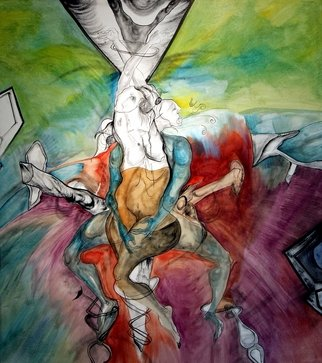 Javed Jalil; CRUCIFIED WOMAN, 2009, Original Painting Oil, 4 x 5.2 feet. Artwork description: 241  CRUCIFIED WITH DESIRE , SALVATION INTO THE DEPTH OF HUMAN LONGING. ...