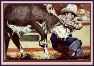 James Dailey; The Bulldogger, 2010, Original Drawing Pencil, 27 x 18 inches. Artwork description: 241  western, rodeo, bulls, cowboys, equine   ...