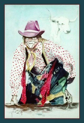James Dailey; The Bullfighter, 2010, Original Watercolor, 17 x 27 inches. Artwork description: 241   western, rodeo, bulls, cowboys, equine    ...