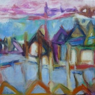Lisa Reinke; Abstract View Of Singapor..., 2010, Original Pastel Oil, 18 x 18 inches.