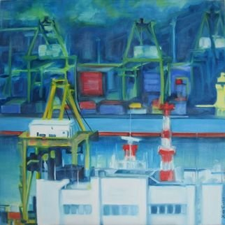 Lisa Reinke; Container Yard, 2008, Original Painting Oil, 18 x 18 inches. Artwork description: 241  A painting of my view of the Tanjong Pagar Container Terminal in Singapore. ...