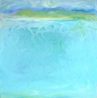 Lisa Reinke; Finger Painting, 2009, Original Painting Oil, 18 x 18 inches. Artwork description: 241  Abstract landscape finger painted in oils on canvas, inspired by my harbor view.  I like the movement and the color.  It's an experiment for me, so I' m selling it at less than my usual price.   ...