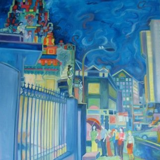 Lisa Reinke; Spilling Onto The Sidewalk, 2008, Original Painting Oil, 36 x 36 inches. Artwork description: 241  Hindu temple in Singapore. ...