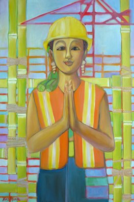 Lisa Reinke; Under Construction, 2010, Original Painting Oil, 24 x 36 inches.
