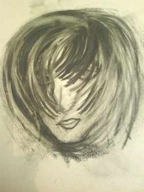 Lisa Anderson; Just A Girl, 2012, Original Drawing Charcoal, 11 x 24 inches. Artwork description: 241  Wind Blown Hair ...