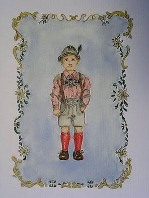 Lisa Parmeter; Bavarian Boy, 2006, Original Watercolor,   inches. Artwork description: 241  Bavarian Boy and Girl in Tole style.  Boy in traditional Bavarian lederhosen and girl in dirndl.  ...
