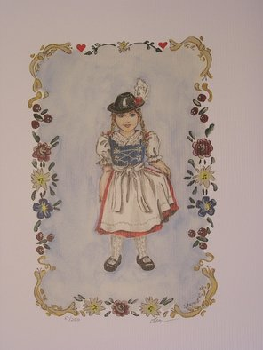 Lisa Parmeter; Bavarian Girl, 2006, Original Watercolor,   inches. Artwork description: 241   Bavarian Boy and Girl in Tole style.  Boy in traditional Bavarian lederhosen and girl in dirndl.   ...