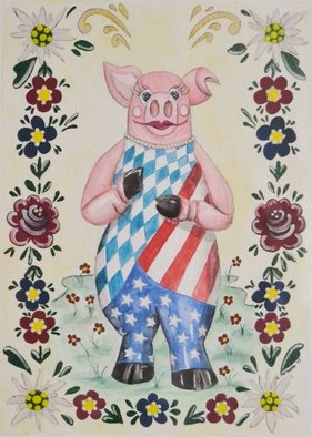 Lisa Parmeter; German American Schwein Mascot, 2007, Original Watercolor, 4 x 6 inches. Artwork description: 241  Bavarian and American Flag wrapped around the Schweinfurt, Germany mascot.     ...