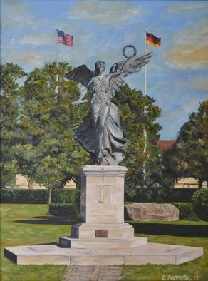 Lisa Parmeter; Winged Victory, 2003, Original Painting Oil,   inches. Artwork description: 241  Winged Victory, 1st Infantry Division in Wuerzburg, Germany before she was moved to Fort Riley, Kansas with the Division HQs. ...