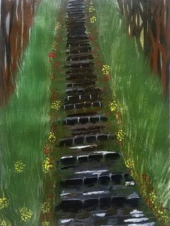 Reena Thomas; Stairway To Home, 2016, Original Painting Acrylic, 16 x 12 inches.