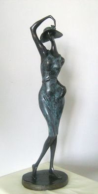 Liubka Kirilova; Toilet, 2015, Original Sculpture Bronze, 10 x 53 inches. Artwork description: 241 Bronze Smart Chic Lady with hat. ...