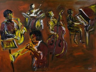 Liz Sutcliffe; Jazz Down at Tims, 2008, Original Painting Oil,   inches.