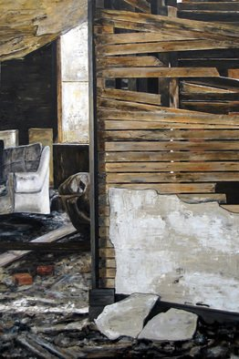 Lindsey Larsen; Broken Spaces I, 2008, Original Painting Oil, 24 x 36 inches.