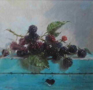Serge Akopov; Blackberry, 2016, Original Painting Oil, 20 x 20 cm. Artwork description: 241 painting, still life, oil painting...