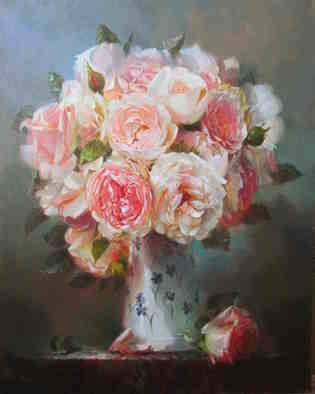 Serge Akopov; English Roses, 2019, Original Painting Oil, 40 x 50 cm. Artwork description: 241 flowers, oil painting, still life...