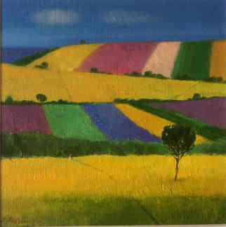 Serge Akopov; Fields Of Provence, 2016, Original Painting Oil, 19 x 19 cm. Artwork description: 241 abstract landscape, painting oil, fine art...