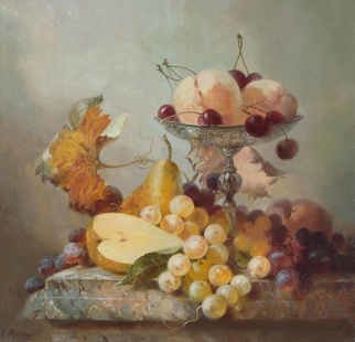 Serge Akopov; Fruits, 2016, Original Painting Oil, 30 x 30 inches. Artwork description: 241 painting, still life, oil painting, fruits...