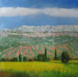 Serge Akopov; Provencal Landscape, 2016, Original Painting Oil, 36 x 36 cm. Artwork description: 241 impressionism, landscape, painting oil, fine art...
