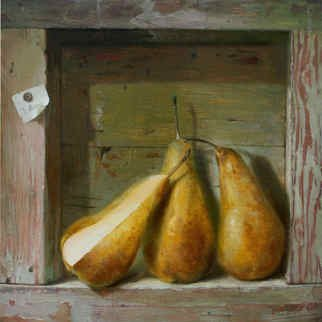 Serge Akopov; Three Pears, 2014, Original Painting Oil, 30 x 30 cm. Artwork description: 241 still life, oil painting, fine art...