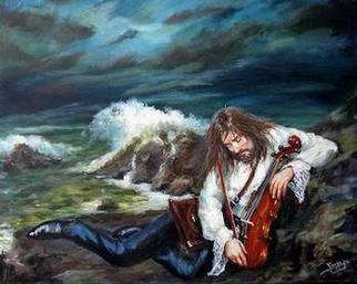 Marcel Lorange; Between The Sea And The Violin, 2003, Original Painting Acrylic, 30 x 24 inches. Artwork description: 241 Between two land and sea as it is between the spiritual and the physical realm. This is largely auto biographical painting...