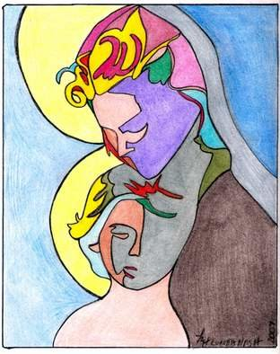 Loretta Nash; Madonna With Child, 2007, Original Drawing Pencil, 8 x 10 inches. Artwork description: 241  the passion of a mother holding her son who is the son of god.  the emotion of the image is express in the colors and the framing of the faces. ...