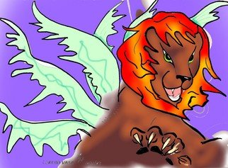 Loretta Nash; Revelation Lion, 2007, Original Computer Art, 10 x 8 inches. Artwork description: 241  the lion from revelation. roaring and flashing a paw with claws while wings flare out it is an alsome drawing. ...