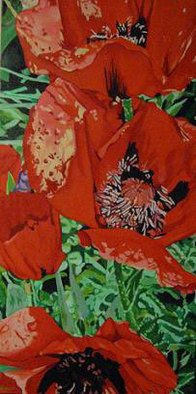 Claudette Losier; Bounty And Grace, 2011, Original Painting Oil, 24 x 48 inches. Artwork description: 241  Red Poppies ...