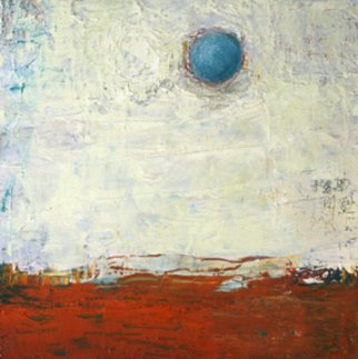 Louise Weinberg; Sphere Series Unitled 17, 2008, Original Painting Oil, 12 x 12 inches. Artwork description: 241  Blue sphere in landscape ...